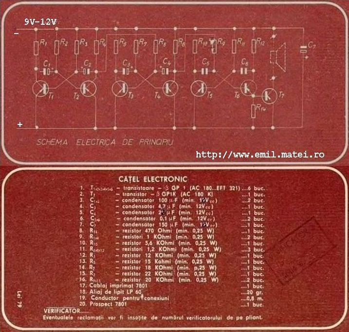 Kit 7801 - Catel electronic - Schema electrica si lista de materiale