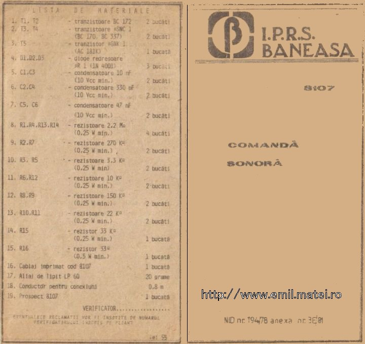 Kit 8107 - Comanda sonora - Lista de materiale