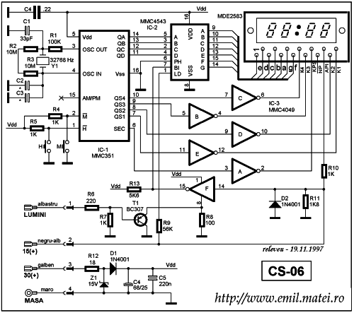 Schema electrica - Ceas electronic auto (Click to enlarge...)