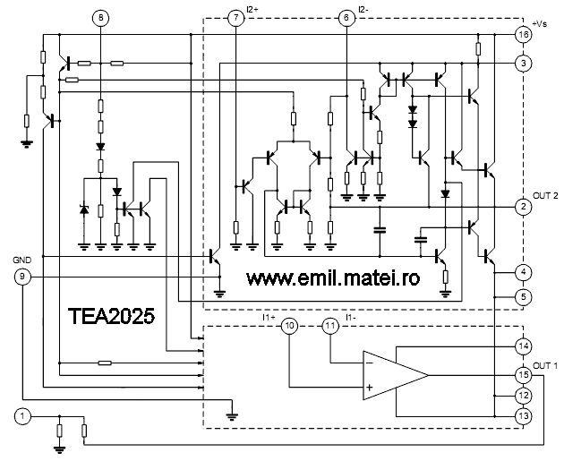 Internal schematic of TEA2025 (Schema interna TEA2025